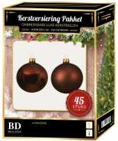 Kerstboom kerstbal en ster piek set 45x mahonie bruin voor 120 cm boom versiering