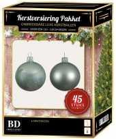 Kerstboom kerstbal en ster piek set 45x mintgroen voor 120 cm boom versiering