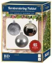 Kerstboom kerstbal en ster piek set 45x zilver voor 120 cm boom versiering 10161732