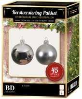 Kerstboom kerstbal en ster piek set 45x zilver voor 120 cm boom versiering