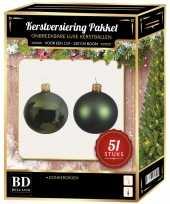 Kerstboom kerstbal en ster piek set 51x donkergroen voor 120 cm boom versiering