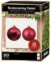 Kerstboom kerstbal en ster piek set 51x fuchsia roze voor 120 cm boom versiering