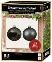 Kerstboom kerstbal en ster piek set 51x grijsblauw voor 120 cm boom versiering