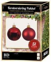 Kerstboom kerstbal en ster piek set 51x kerst rood voor 120 cm boom versiering