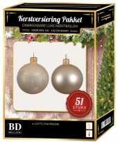 Kerstboom kerstbal en ster piek set 51x licht champagne voor 120 cm boom versiering