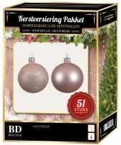 Kerstboom kerstbal en ster piek set 51x lichtroze voor 120 cm boom versiering