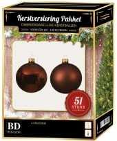 Kerstboom kerstbal en ster piek set 51x mahonie bruin voor 120 cm boom versiering