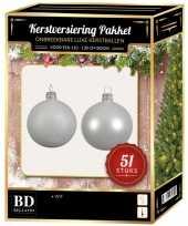 Kerstboom kerstbal en ster piek set 51x winter wit voor 120 cm boom versiering