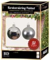 Kerstboom kerstbal en ster piek set 51x zilver voor 120 cm boom versiering