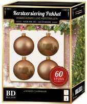 Kerstboom kerstbal en ster piek set 60x donker parel champagne voor 150 cm versiering