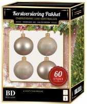 Kerstboom kerstbal en ster piek set 60x licht parel champagne voor 150 cm versiering