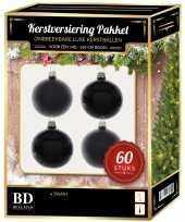 Kerstboom kerstbal en ster piek set 60x zwart voor 150 cm boom versiering