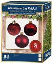 Kerstboom kerstbal en ster piek set 61x rood voor 150 cm boom versiering