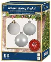 Kerstboom kerstbal en ster piek set 85 stuks wit voor 180 cm boom versiering