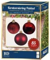 Kerstboom kerstbal en ster piek set 85x rood voor 180 cm boom versiering