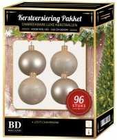 Kerstboom kerstbal en ster piek set 96x licht parel voor 180 cm boom versiering