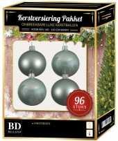 Kerstboom kerstbal en ster piek set 96x mintgroen voor 180 cm boom versiering