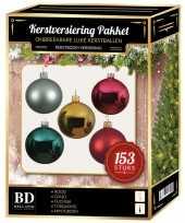 Kerstboom kerstballen pakket 153 stuks met piek gekleurd versiering