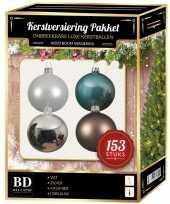 Kerstboom kerstballen pakket 153 stuks met piek wit blauw bruin zilver versiering
