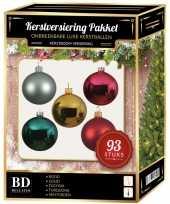 Kerstboom kerstballen pakket 93 stuks met piek gekleurd versiering