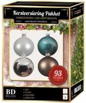 Kerstboom kerstballen pakket 93 stuks met piek wit blauw bruin zilver versiering