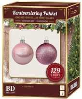 Kerstboom kerstballen set kunststof 129 delig voor 180 cm boom lichtroze versiering