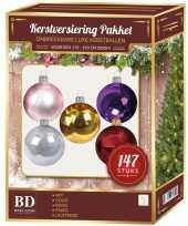 Kerstboom kerstballen set kunststof 147 delig voor 180 cm boom gekleurd versiering