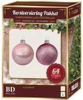 Kerstboom kerstballen set kunststof 64 delig voor 120 cm boom lichtroze versiering