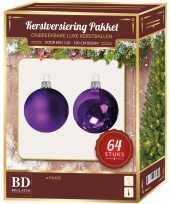 Kerstboom kerstballen set kunststof 64 delig voor 120 cm boom paars tinten versiering