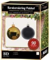 Kerstboom kerstballen set kunststof 90 delig voor 150 cm boom goud zwart versiering