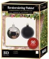 Kerstboom kerstballen set kunststof 90 delig voor 150 cm boom zilver zwart versiering