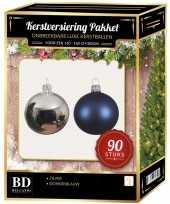 Kerstboom kerstballen set kunststof 90 delig voor 150cm zilver donkerblauw versiering