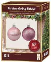 Kerstboom kerstballen set kunststof 97 delig voor 150 cm boom lichtroze versiering