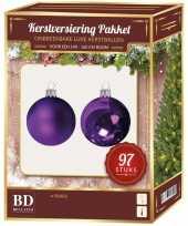 Kerstboom kerstballen set kunststof 97 delig voor 150 cm boom paars tinten versiering
