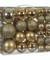 Kerstboom kerstballenpakket 46x gouden kunststof kerstballen mix versiering